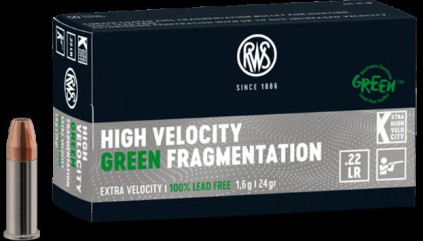 RWS .22 LR High Velocity Green Fragmentation 24 grs Kleinkaliberpatronen