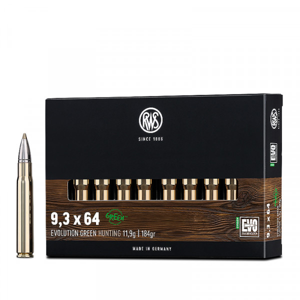 RWS Evolution Green 9,3 x 64 11,92g - 184grs HP Büchsenmunition