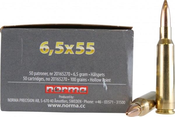 Norma 6,5 x 55 Swedish 6,48g - 100grs Norma Jaktmatch HP Büchsenmunition