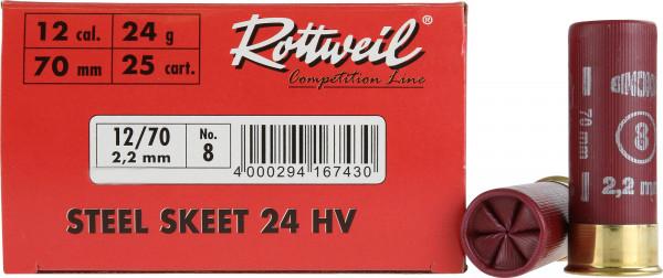 Rottweil Steel Skeet 24 HV 12/70 24g 2,2mm Schrotpatronen