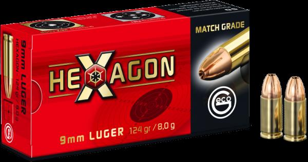 Geco Hexagon 9mm Luger (9x19) Geco Hexagon 124 grs Pistolenpatronen