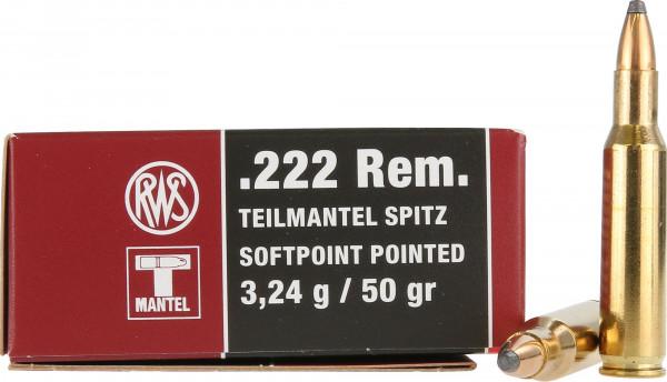 RWS Teilmantel .222 Rem 3,24g - 50grs SP Büchsenmunition