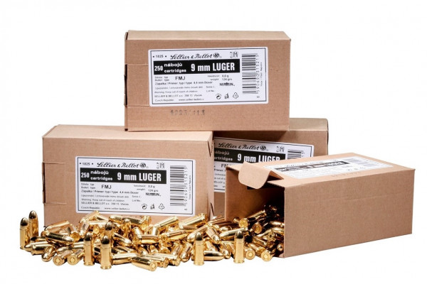 Sellier & Bellot 9mm 8,03g - 124grs Pistolenmunition 250