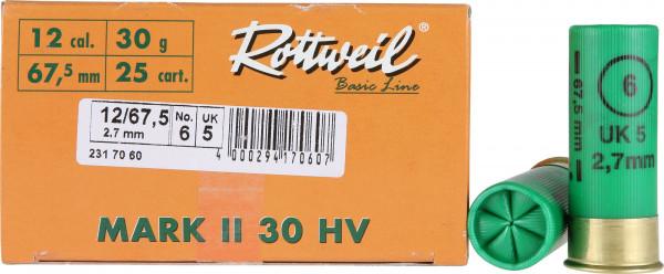 Rottweil Mark II 30 HV 12/67,5 30g 2,7mm Schrotpatronen