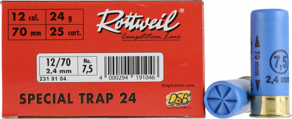 Rottweil Special Trap 12/70 24g 2,4mm Schrotpatronen