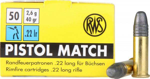 RWS .22 l.r. 2,59g - 40grs Pistol Match Kleinkalibermunition
