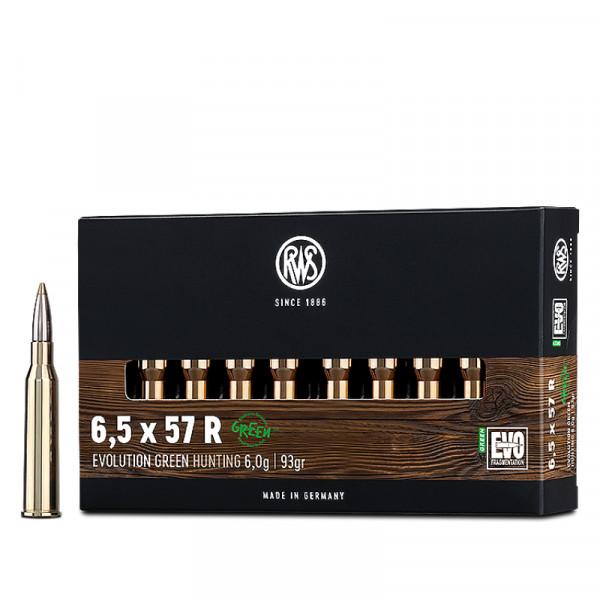 RWS Evolution Green 6,5 x 57 R 6,03g - 93grs HP Büchsenmunition