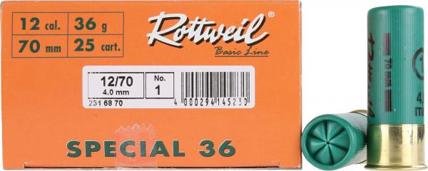 Rottweil Special 36 12/70 36g 4mm Schrotpatronen